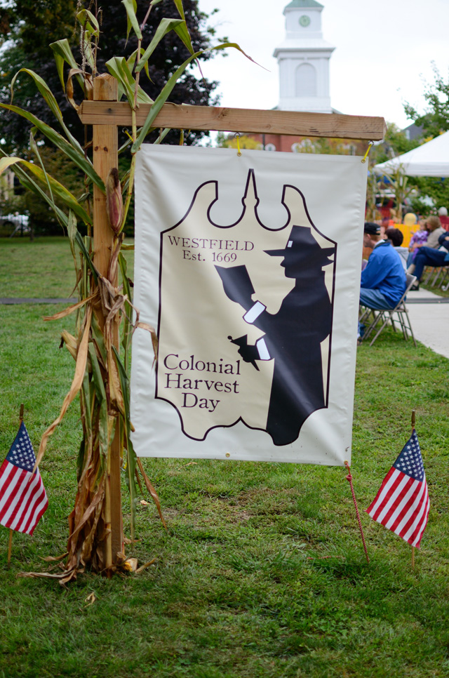 Colonial Harvest Day sign.